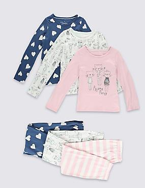 3 Pack Pure Cotton Pyjamas (1-8 Years), PINK MIX, catlanding