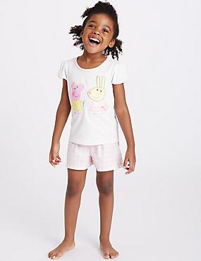 Korte Peppa Pig™-pyjama (1-8 jaar), WIT MIX, catlanding