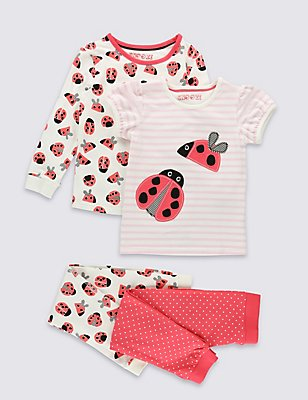 2 Pack Pyjamas (9 Months - 8 Years), CORAL MIX, catlanding