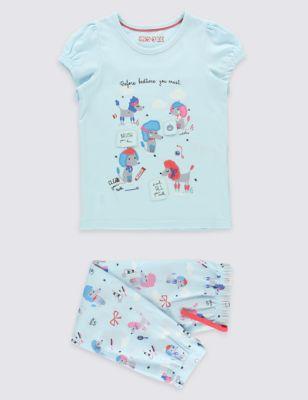"""Пижама с принтом """"Пудельки"""" для девочки 9 месяцев - 8 лет M&S Collection T864725"""