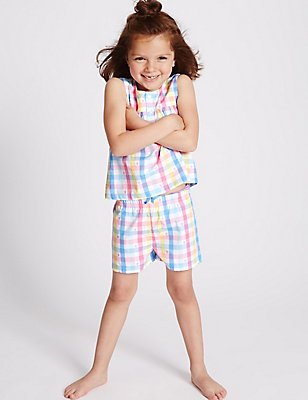 Pure Cotton Checked Short Pyjamas (9 Months - 8 Years), MULTI, catlanding