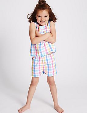 Pyjashort 100% coton à carreaux (du 9mois au 8ans), MULTI, catlanding