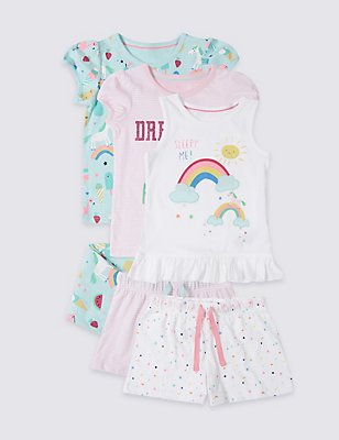 3 Pack Unicorn Pyjamas (9 Mths-8 Yrs), WHITE MIX, catlanding