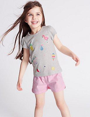 Pure Cotton Short Pyjamas (9 Months - 8 Years), GREY MIX, catlanding