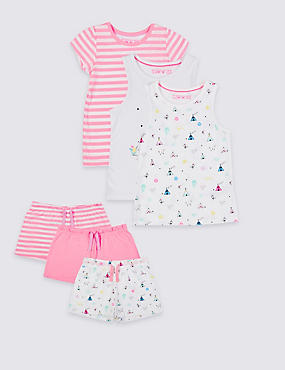 3 Pack Short Pyjamas (9 Months - 8 Years) , PINK MIX, catlanding
