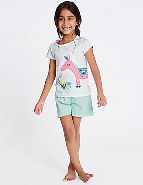 Korte pyjama van zuiver katoen (9 maanden-5 jaar), AQUA MIX, catlanding
