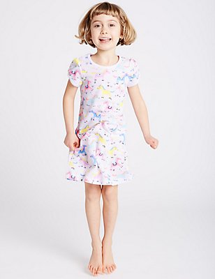 All Over Print Nightdress (9 Months - 8 Years), WHITE MIX, catlanding