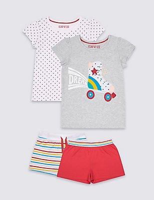 2 Pack Pure Cotton Short Pyjamas (9 Months - 8 Years), MULTI, catlanding