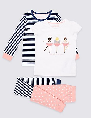 2 Pack Cotton Pyjamas with Stretch (9 Months - 8 Years), PINK MIX, catlanding