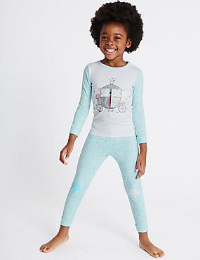 Pyjamas with Stretch (9 Months - 8 Years), AQUA MIX, catlanding