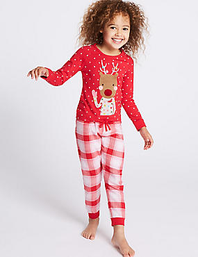 Reindeer Long Sleeve Pyjamas (1-8 Years), RED MIX, catlanding