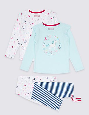 2 Pack Unicorn Bear Pyjamas (9 Months - 8 Years), BLUE MIX, catlanding