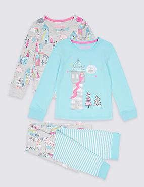 2 Pack Cotton Rich Pyjamas (9 Months - 8 Years), PINK MIX, catlanding