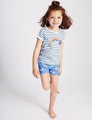 Pure Cotton Short Pyjamas (3 Months - 8 Years), BLUE MIX, catlanding