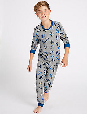 Cotton Rich All Over Print Pyjamas (1-16 Years), GREY MIX, catlanding