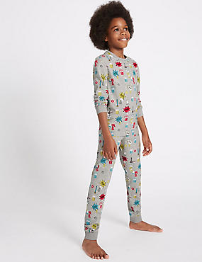 Cotton Rich All Over Print Pyjamas (1-16 Years), BLACK MIX, catlanding