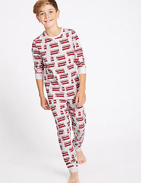 All Over Print Cotton Pyjamas with Stretch (1-16 Years), WHITE MIX, catlanding