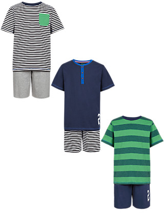 3 Pack Cotton Rich Striped Short Pyjamas (5-14 Years) Clothing