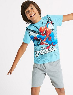 Spider-Man™ Pure Cotton Short Pyjamas (4-16 Years), BLUE MIX, catlanding