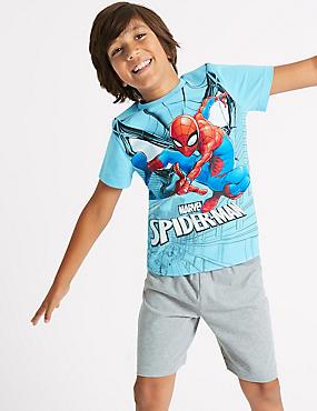 Spider-Man™ Pure Cotton Short Pyjamas (4-16 Years), BLUE MIX, catlanding