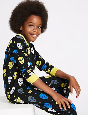 All Over Print Cotton Pyjamas with Stretch (1-16 Years), BLACK MIX, catlanding