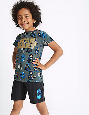 Pure Cotton Star Wars™ Short Pyjamas (5-16 Years), BLACK MIX, catlanding