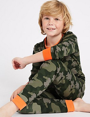 Printed Pyjamas with Stretch (1-16 Years), GREEN, catlanding