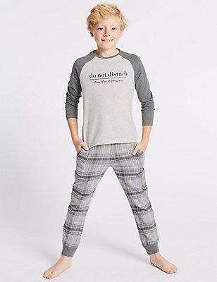 Long Sleeve Pyjamas (1-16 Years), GREY MIX, catlanding