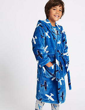 Hooded Dressing Gown with Belt (1-16 Years), BLUE MIX, catlanding
