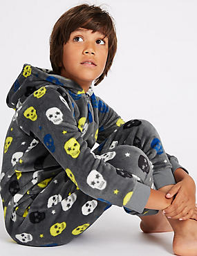 Skull Print Hooded Onesie (1-16 Years), GREY MIX, catlanding