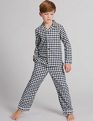 Pure Cotton Checked Pyjamas (1-16 Years), INDIGO MIX, catlanding
