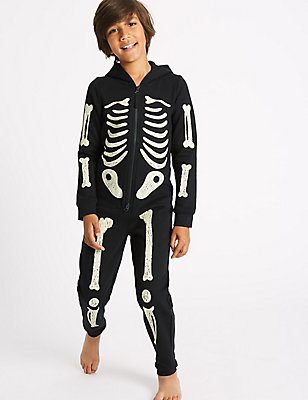 Skeleton Print Onesie (1-16 Years), BLACK MIX, catlanding