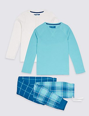 2 Pack Pure Cotton Checked Pyjamas (3-16 Years), BLUE MIX, catlanding