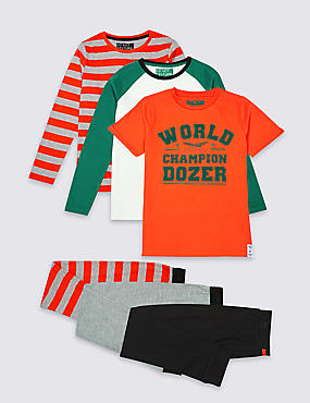 3 Pack Printed Pyjamas (3-16 Years), GREEN MIX, catlanding