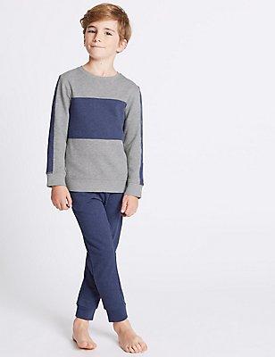 Pyjama en coton à manches longues (du 7 au 16ans), GRIS ASSORTI, catlanding