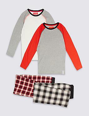 2 Pack Long Sleeve Checked Pyjamas (3-16 Years), MULTI, catlanding