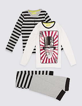 2 Pack Long Sleeve Pyjamas (3-16 Years), BLACK MIX, catlanding