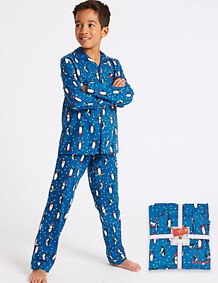 Pure Cotton Penguin Pyjamas (1-16 Years), BLUE MIX, catlanding