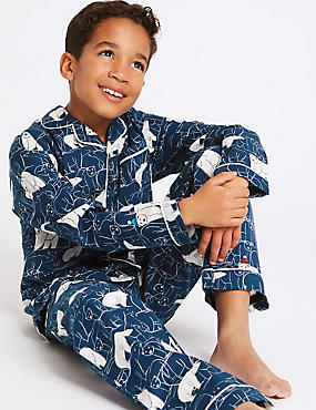 Pure Cotton Bear Print Pyjamas (1-16 Years), GREY MIX, catlanding
