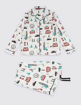 Pure Cotton London Scene Pyjamas (1-16 Years), WHITE MIX, catlanding