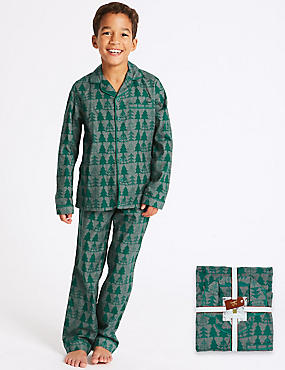 Pure Cotton Long Sleeve Pyjamas (1-16 Years), GREY MIX, catlanding