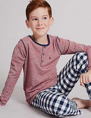 Pyjama 100% coton à manches longues (du 1 au 16ans), BLEU MARINE ASSORTI, catlanding