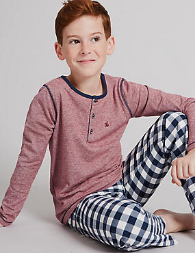Pure Cotton Long Sleeve Pyjamas (1-16 Years), NAVY MIX, catlanding