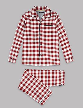 Pure Cotton Gingham Pyjamas (1-16 Years), BURGUNDY MIX, catlanding