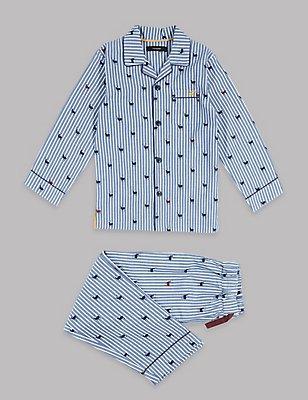 Pyjama 100% coton à rayures (du 1 au 16ans), BLANC ASSORTI, catlanding