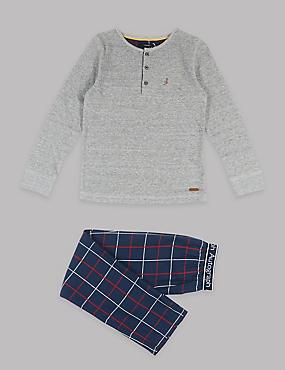 Pure Cotton Pyjamas (1-16 Years), NAVY MIX, catlanding