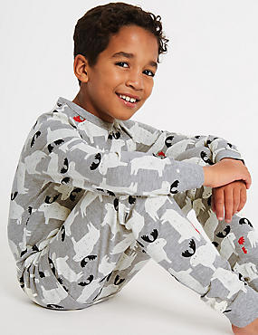 All Over Print Pyjamas (1-16 Years), GREY MIX, catlanding