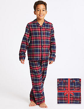 Pure Cotton Checked Pyjamas (1-16 Years), RED MIX, catlanding