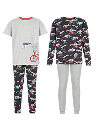 2 Pack Pure Cotton Dinosaur Skull Print Pyjamas (5-14 Years) Clothing