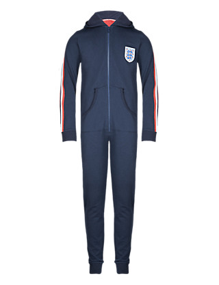 England FA Pure Cotton 3 Lions Hooded Sweat Onesie (5-14 Years) Clothing
